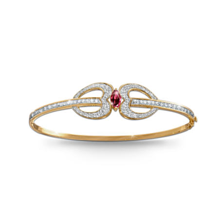 """Embraced In Love"" Garnet Bangle Bracelet"