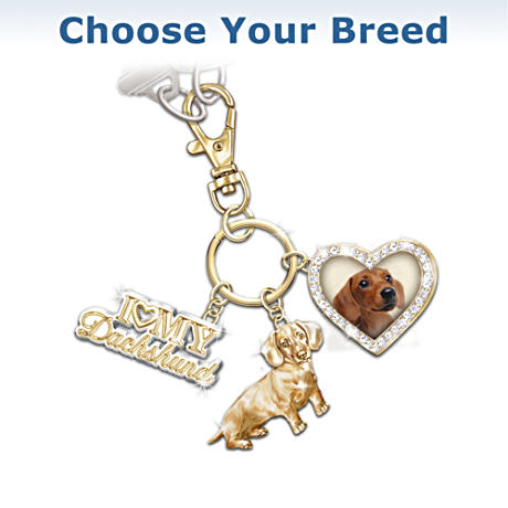 """I Love My Dog"" Swarovski Crystal Key Chain"