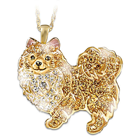 Pomeranian Pendant With White And Blonde Swarovski Crystals