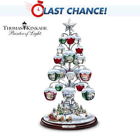 Thomas Kinkade Sleigh Bell Ornament Tabletop Tree