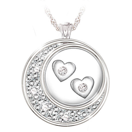 """Floating"" Diamond Hearts Sterling Silver Pendant"