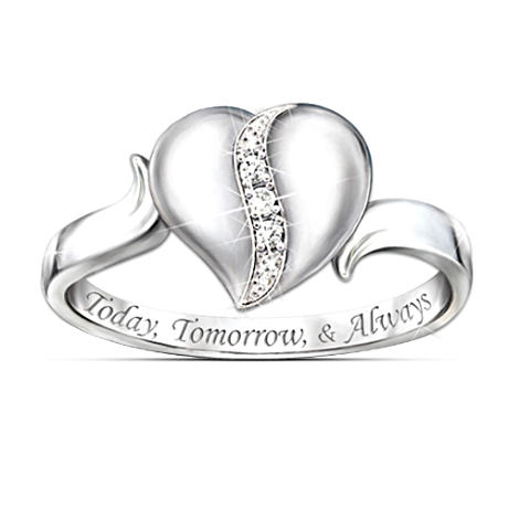 Heart-Shaped Diamond Ring For Daughter With Engraving