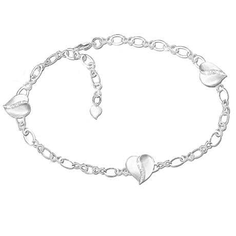 Diamond Bracelet For Daughters With 3 Engraved Heart Charms