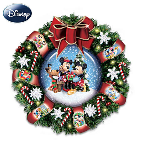 Disney Mickey Mouse Musical Wreath With Blowing Snow, Lights
