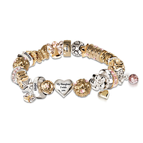 "Swarovski Crystal ""Heartfelt Wishes"" Daughter Charm Bracelet"