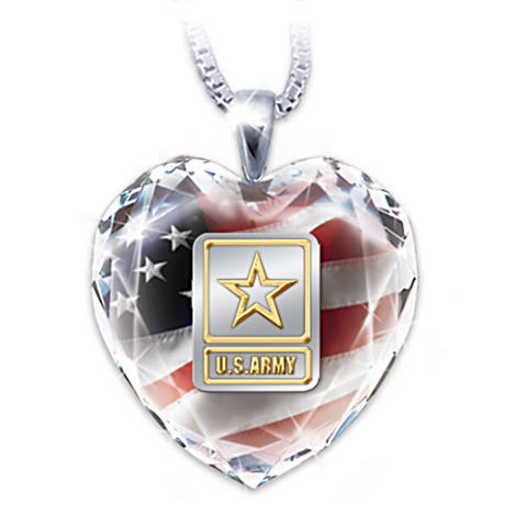 "U.S. Army ""Army Strong"" Crystal Heart Pendant Necklace"