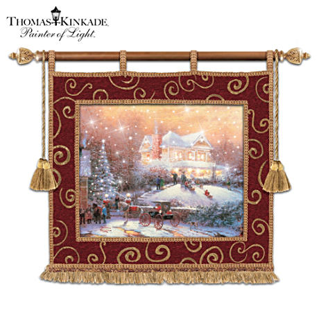"Thomas Kinkade ""Christmas Traditions"" Tapestry With Lights"