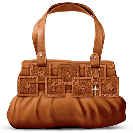 """Inspirations Of Faith"" Embossed Faux Leather Handbag"