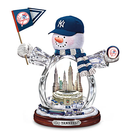 New York Yankees Crystal Snowman With Moving Train