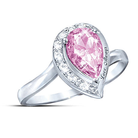 """Love Always"" Pink Topaz Journey Ring"