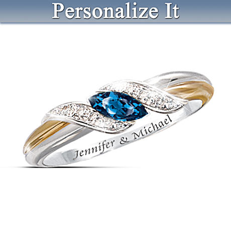 """Sapphire And Diamond Embrace"" Personalized Women's Ring"