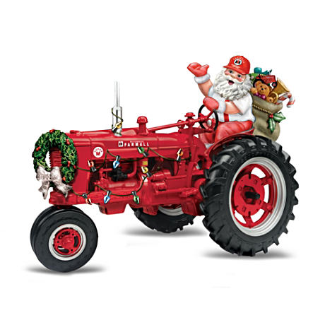 Farmall Super M Tractor Figurine with Santa