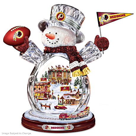 Washington Redskins Crystal Snowman with Moving Train