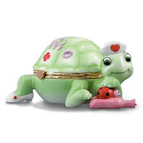 Nurse Tribute Musical Turtle Porcelain Music Box: Tender