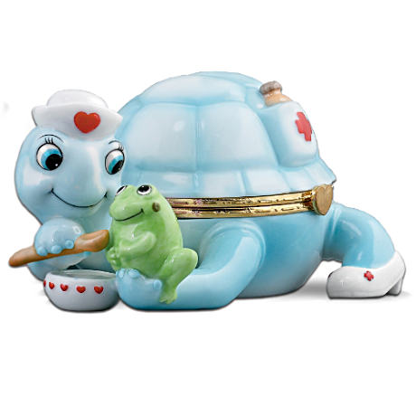 Nurse Tribute Musical Turtle Porcelain Music Box: Care