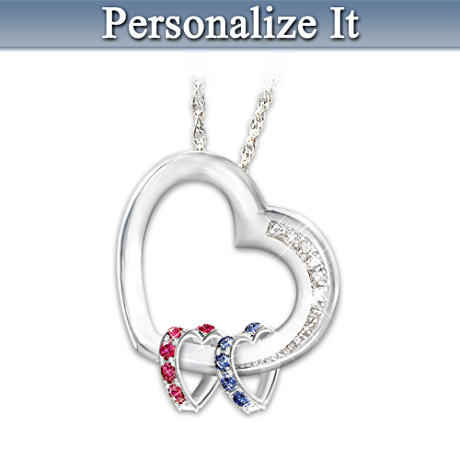 Romantic Personalized Birthstone Pendant With Diamonds