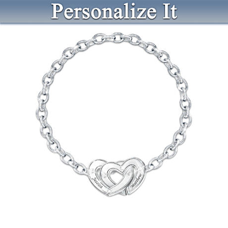 """Two Hearts"" Personalized Couples Bracelet"