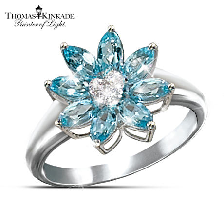 "Exclusive Blue Topaz And Diamond ""Snowflake"" Ring"