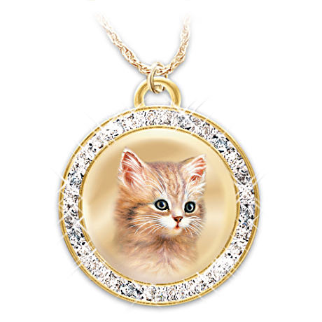 Jürgen Scholz Cat Art Pendant With Swarovski Crystals