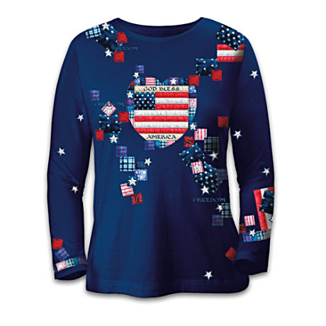 Mary Ann Lasher Patriotic Patchwork Women's Shirt
