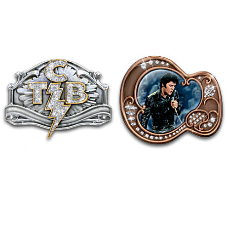 Elvis Presley TCB And Guitar Wearable Belt Buckles