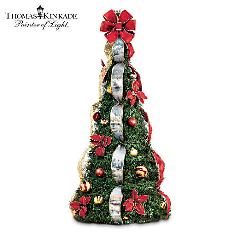 Thomas Kinkade 4' Pre-Lit Pull-Up Christmas Tree