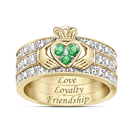 """Blessing Of The Claddagh"" Emerald & Diamond Ring"