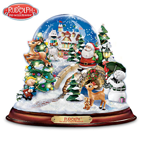 Rudolph Musical Snowglobe With Swirling Snow And Lights