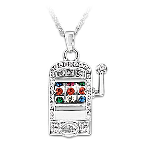 Slot Machine Necklace With Moving Lever And Rotating Reel