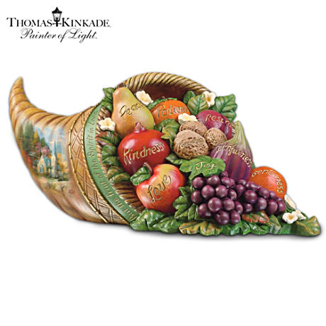 Thomas Kinkade Cornucopia Tabletop Thanksgiving Centerpiece