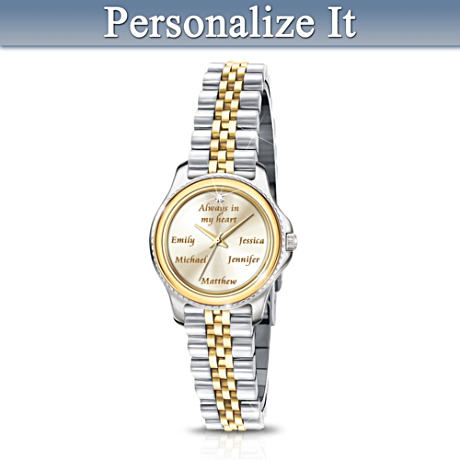 """Always In A Mother's Heart"" Name-Engraved Diamond Watch"