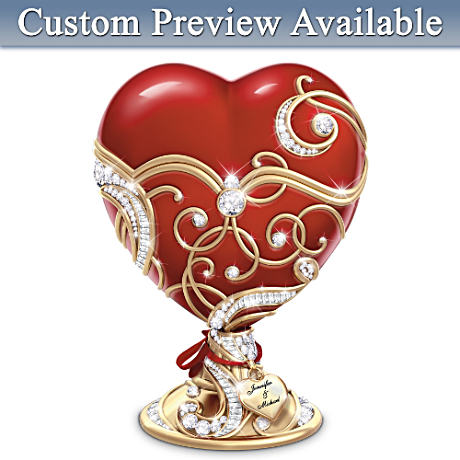 "Personalized ""Key To My Heart"" Porcelain Music Box"