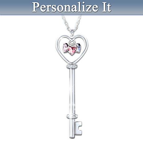 """Key To A Mother's Heart"" Personalized Birthstone Pendant"