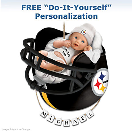 "Personalized ""Steelers Fan"" Baby's First Christmas Ornament"
