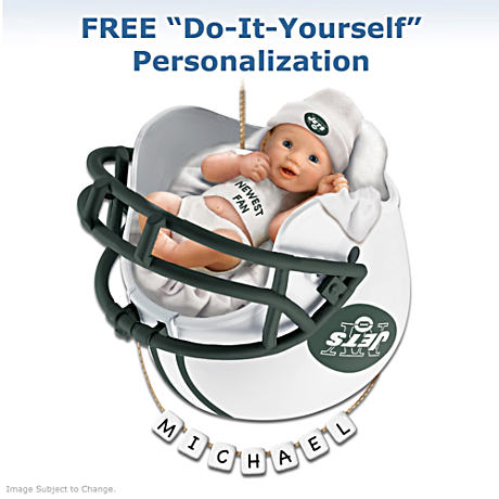 "Personalized ""Jets Fan"" Baby's First Christmas Ornament"