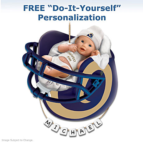 "Personalized ""Rams Fan"" Baby's First Christmas Ornament"