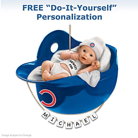 "Personalized ""Cubs Fan"" Baby's First Christmas Ornament"