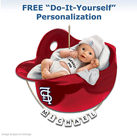 "Personalized ""Cardinals Fan"" Baby's First Christmas Ornament"