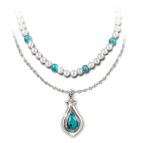 Turquoise And Cultured Freshwater Pearls Necklace Set