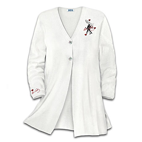 Women's Swing-Style Sweater With Elvis Art And Embroidery