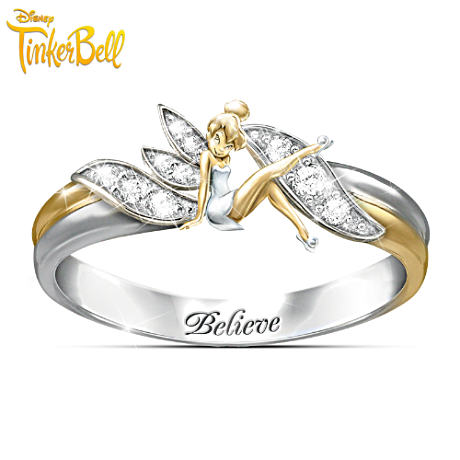 "Tinker Bell ""Believe"" Two-Toned Engraved Ring"