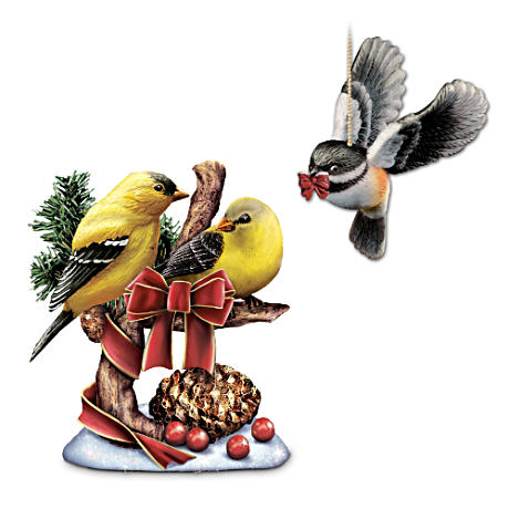 """Holiday Tweets"" Goldfinch Figurine and Hanging Chickadee"