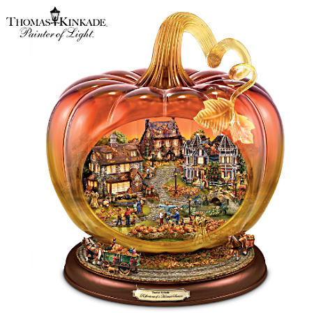 Kinkade Glass Pumpkin With Lit Village, Moving Wagons