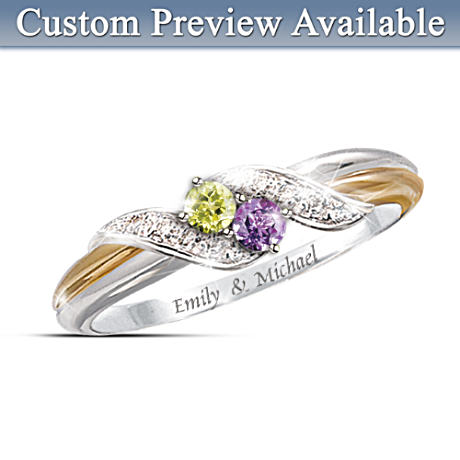 "4-Diamond ""Embrace"" Personalized Engraved Birthstone Ring"