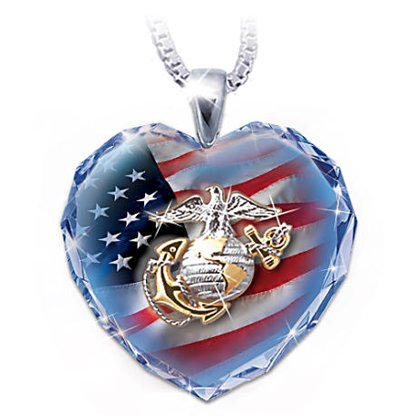The U.S. Military Crystal Heart Pendant Necklaces