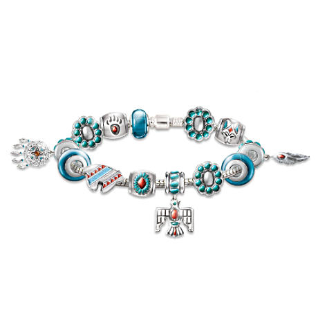 Native American-Inspired Enameled Beaded Charm Bracelet