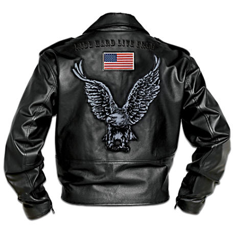 Hand-Numbered Embroidered Men's Leather Biker Jacket