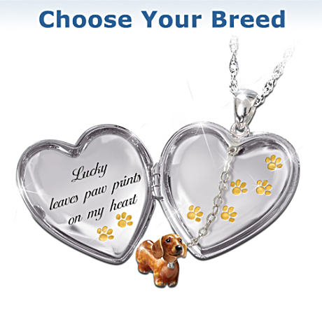 Choose Your Breed Personalized Locket Necklace With Crystal
