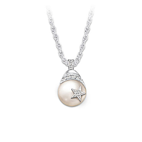 Diamond And Freshwater Cultured Pearl Pendant For Daughter