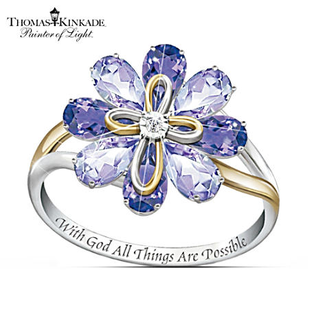 Thomas Kinkade Engraved Amethyst And Diamond Flower Ring